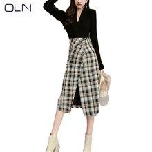 Autumn winter Skirt OLN Korean vestidos new wholesale Sexy V-neck bottoming shirt female + high waist bag hip  plaid skirt