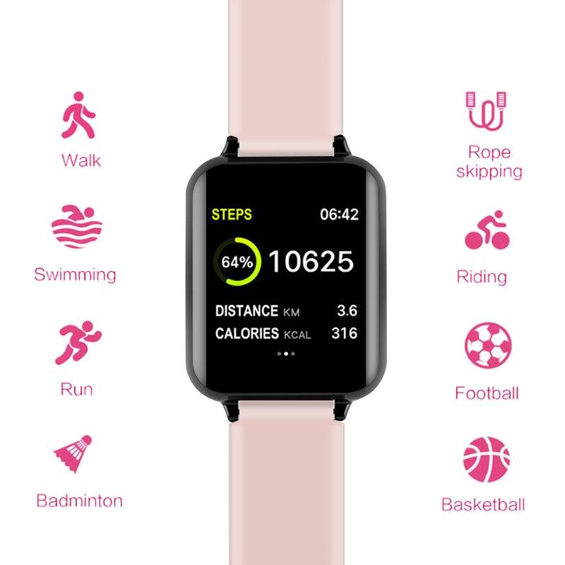 B57 relógios inteligentes à prova dwaterproof água esportes para iphone telefone smartwatch monitor de freqüência cardíaca funções de pressão arterial para mulher masculino garoto 3