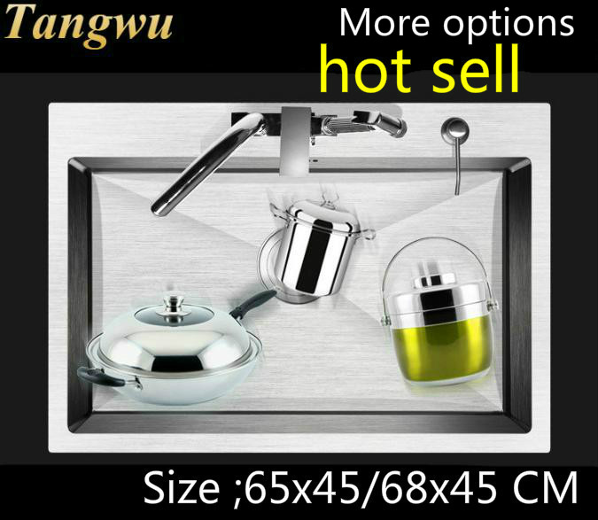 Free Shipping Fashion Kitchen Sink Durable 304 Stainless Steel 4 Mm Hand Made Single Slot Hot Sell 650x450 / 680x450 MM