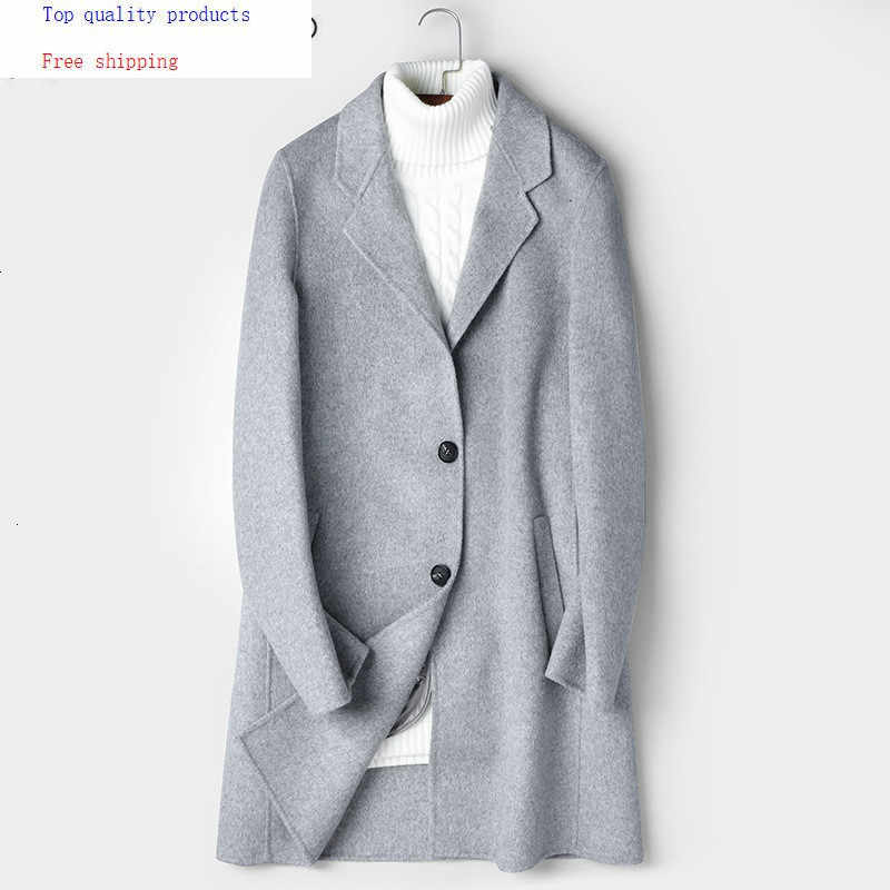 Double-sided Wool Coat Men Long Jacket Korean Overcoat Mens Coats and Jackets Casual Abrigo Hombre 81Z8803 KJ2433