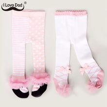 Pantyhose Tights Collant Lace Bows Spring Newborn Girls Winter Cotton Cute Lovely 0-24M