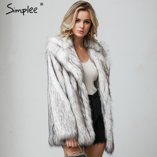 Simplee Winter fax fur women coats Luxurious white long fur loose outerwear Plus size thick warm shaggy female streetwear coat 4