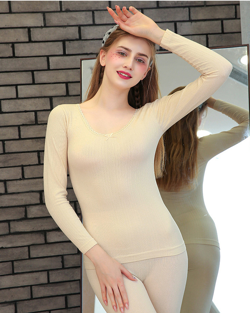 Ladies Thermal Underwear Tight Warm Knitted Thermal Underwear Super Elastic  Body Lace Thermal Underwear Girl Large Size