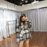 Welldone Autumn And Winter Plaid Back Printed Wool Coat South Korea Star Celebrity Style Loose Fit Shirt Women's