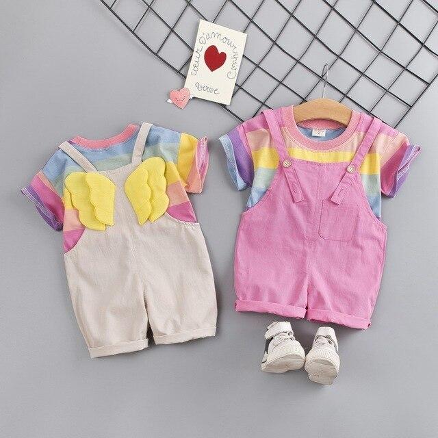 Модная одежда для маленьких девочек футболка в цветную полоску