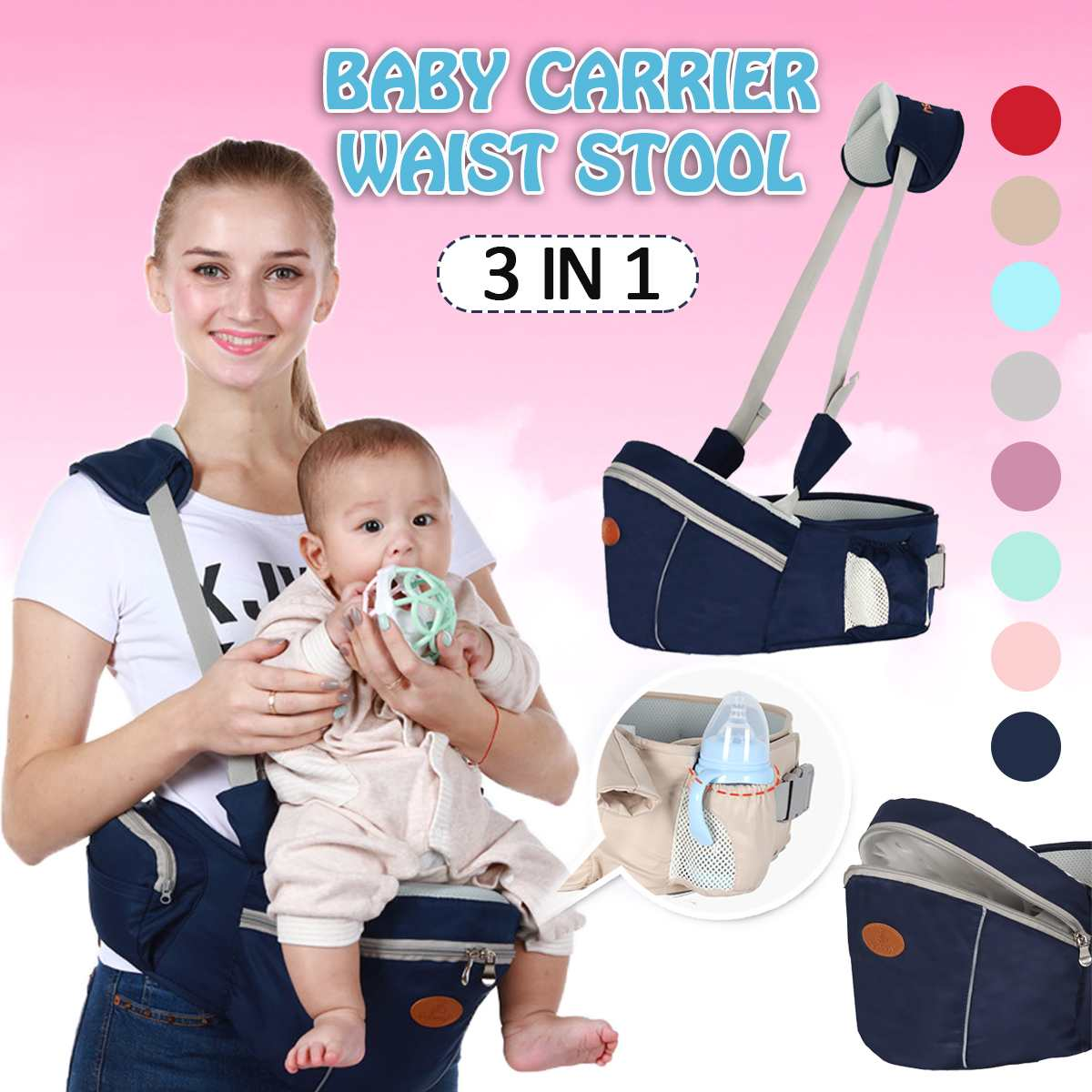 Breathable Baby Carrier Hipseat 0-36 Months Baby Sling Waist Stool Walkers Hold Waist Belt Kangaroo Belt Kids Infant Hip Seat