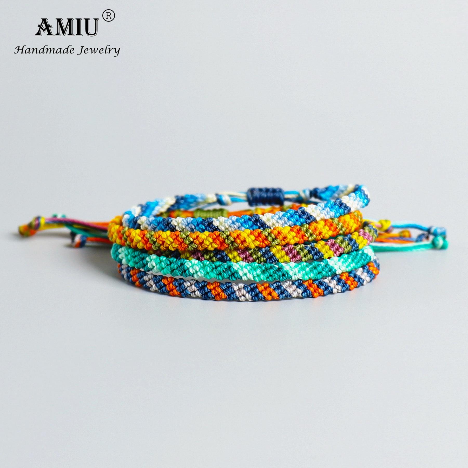 AMIU Handmade High Quality Waterproof Wax Thread Lucky Rope Bracelet & Bangles For Women Men Wax Thread Macrame Bracelets