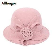 Зимняя фетровая шляпа в стиле ретро для женщин, женская шляпа, Цветочная шляпа Sombrero mujer, шляпа-котелок, винтажная официальная шерстяная фетровая шляпа, шляпы