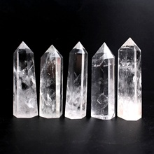 1PC High Quality 65-80mm Natural Clear Rock Quartz Wand Crystal Single Point White Stone Obelisk Healing Reiki Ornament natural white crystal clear quartz 4 8cm quartz crystal stone point healing hexagonal wand treatment stone