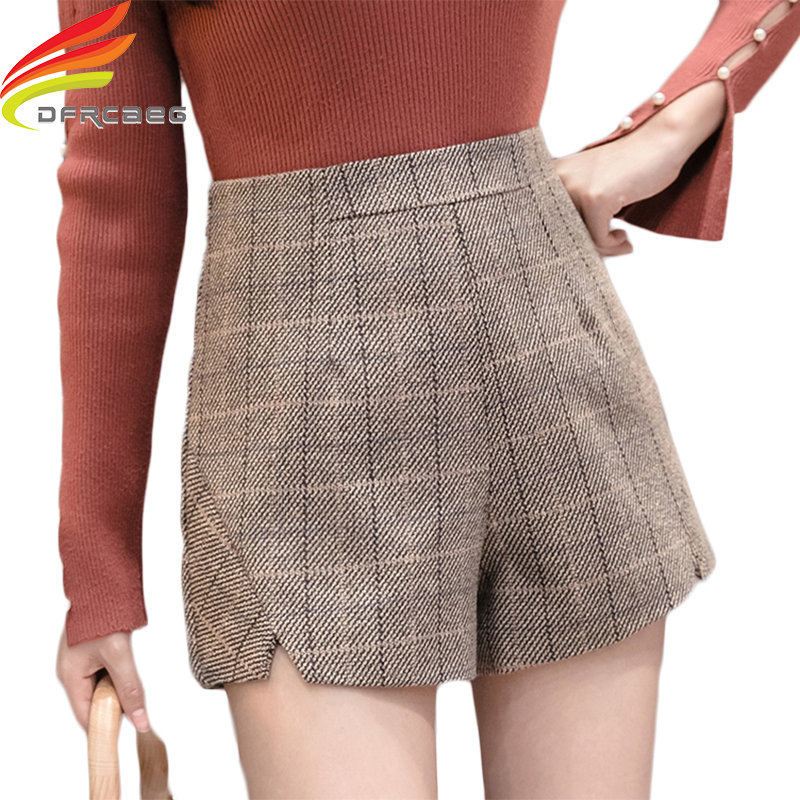 High Waist Woolen Shorts Women 2019 New Elegant High Quality Thick Autumn Winter Shorts Korean Style Women Plaid Short Femme