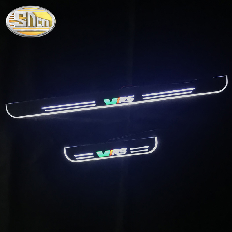SNCN 4PCS Acrylic Moving LED Welcome Pedal Car Scuff Plate Pedal Door Sill Pathway Light For Skoda Octavia VRS 2012 - 2019