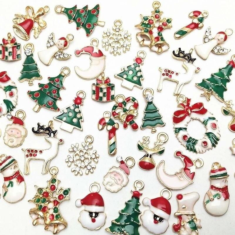 Metal Charms Christmas Pendant Ornaments Beads For Jewelry Making DIY Bracelet Earrings Xmas Gift Tree Elk Santa Claus Snowman