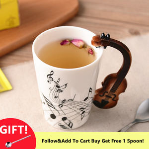 Mug Music Creative Guitar Style Violin Ceramic Cup With Handle Elegant Milk Coffee Tea Set Eco-Friendly Novel Holiday Gift