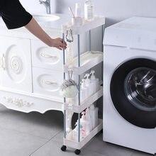 2/3/4 Tier Slim Storage Cart Mobile Shelf Unit Drawer Organizer Slide Out Trolley Cart Rack for Kitchen Bathroom Laundry Narrow