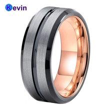 Обручальное кольцо из розового золота черное вольфрамовое для
