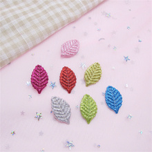 60pcs/Lot 2.8*1.6cm Glitter Leaf Padded Appliques Accessories Artificial Patches DIY Crafts Hair Clips Clothes Hat Decoration