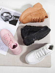 Chunky Sneakers Shoes Black White Thick Women Fashion-Brand Sports Causal High Soled