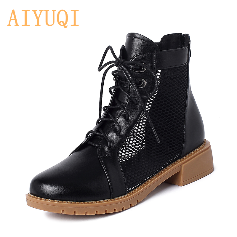 AIYUQI Spring Martin Boots Women  2020 New Genuine Leather Ladies Net Boots Comfortable Breathable Baotou Women Summer Boots