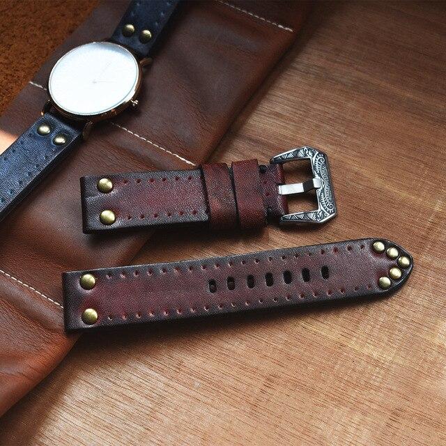 Correa de reloj de cuero de vaca Vintage de bronce Retro para hombre, tachuelas de cobre oxidado, hebilla de diseño tallados, relojes antiguos
