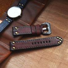 Retro Bronze Vintage Cow Leather Watch Strap Rusty Copper Studs Carved Patterns Buckle Watchband Antique Watches Ancient Men