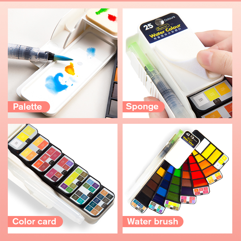 Superior 18/25/33/42 Solid Watercolor Paint Set With Water Brush Pen Foldable Travel Water Color Pigment For Draw Dropshipping 5