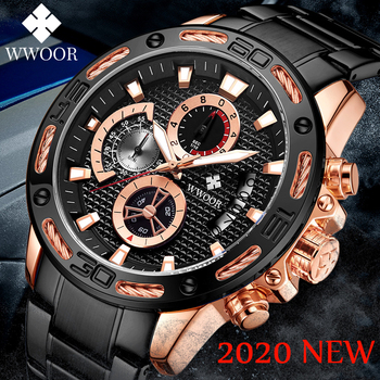 2020 New Mens Sports Watches WWOOR Top Brand Luxury Full Steel Waterproof Quartz Watch Men Fashion Chronograph Relogio Masculino relogio masculino wwoor luxury mens analog quartz business gold wrist watch men full steel waterproof sports watches male clocks