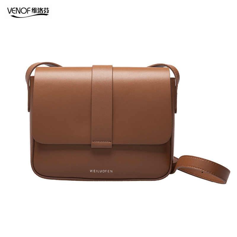 VENOF marka kadın bölünmüş deri crossbody çanta Casual Vintage yumuşak inek derisi deri omuz çantaları moda askılı çanta yüksek kalite