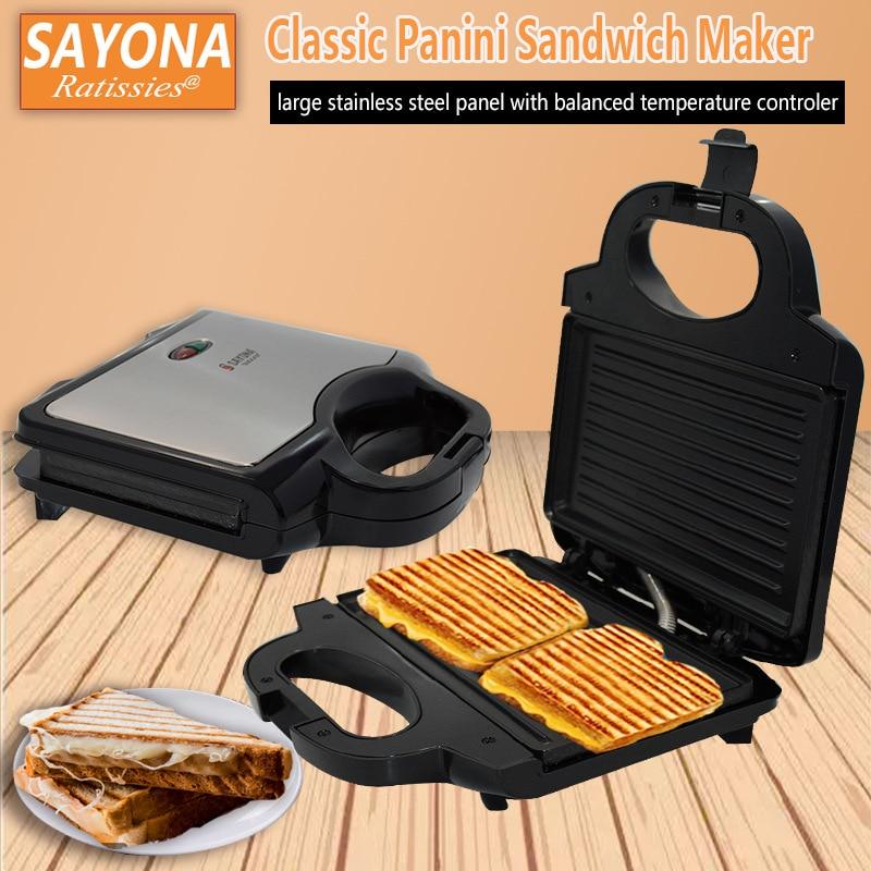 Stripe-shaped Home Sandwich Maker Stainless Steel Toaster Overnight Grill Breakfast Machine SZJ-227B