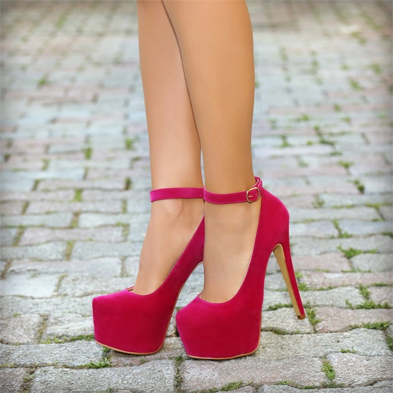 Mst-030 Fuchsia Suede Summer Sexy High-heeled Shoes Women's Shoes Europe America Spring Summer 35-40 14 Cm