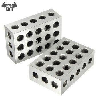 DANIU 2 uds 25x50x75mm bloques de acero endurecido 23 agujeros paralelo bloque de sujeción herramientas de torno precisión 0.005mm para máquina herramienta