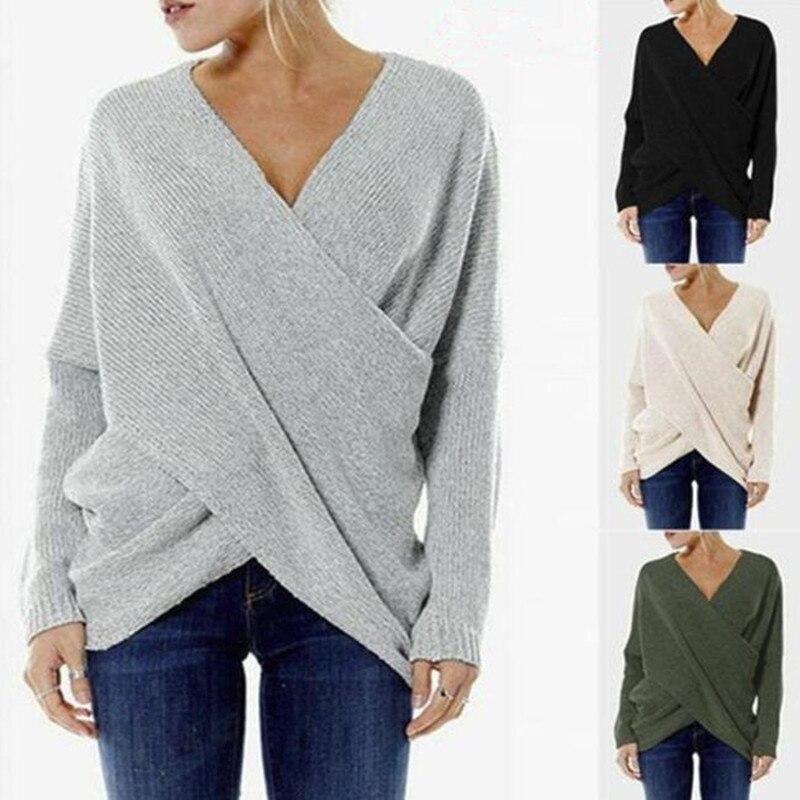 Sexy Herbst Und Winter Frauen Pullover Pullover Weibliche Tropfen-Schulter Quer Wrap Pullover Gewinde Schlanke Verdickung Pullover Tops