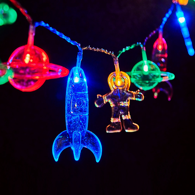 LED Children's Room String Light with Astronaut Spaceship Rocket Pendants Kids Bedroom Decoration Light LED Holiday Party Lights