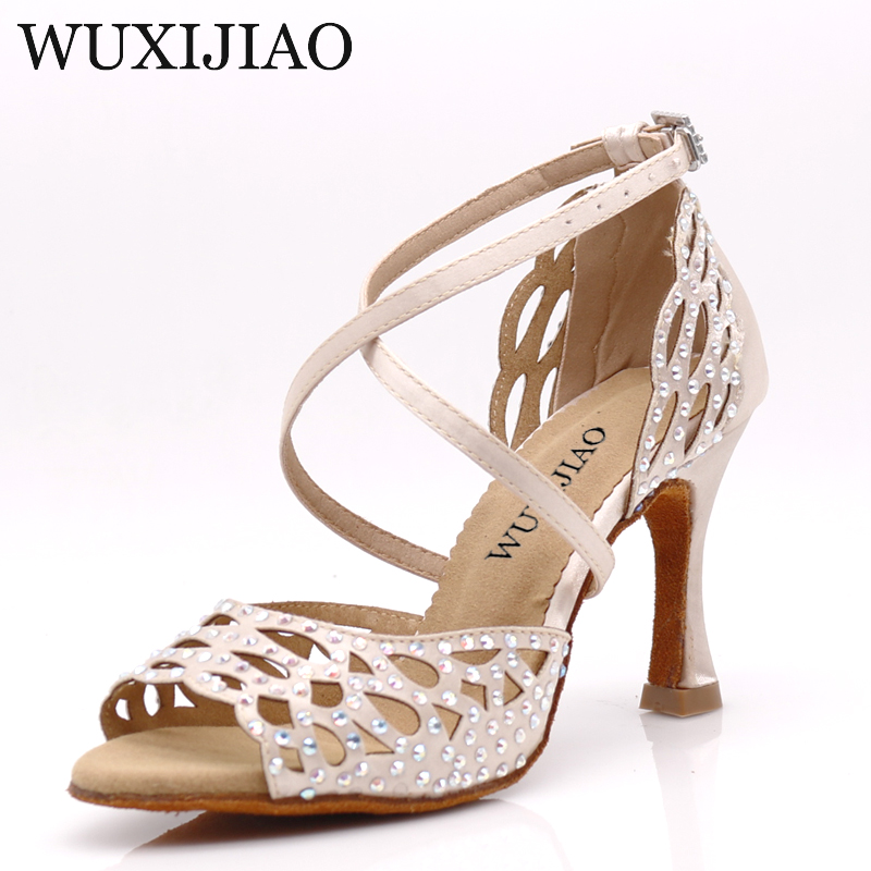 WUXIJIAO Dance Shoes Girl Latin Dance Shoes Trend Printing PU Salsa Dance Shoes HEEL5CM-10CM