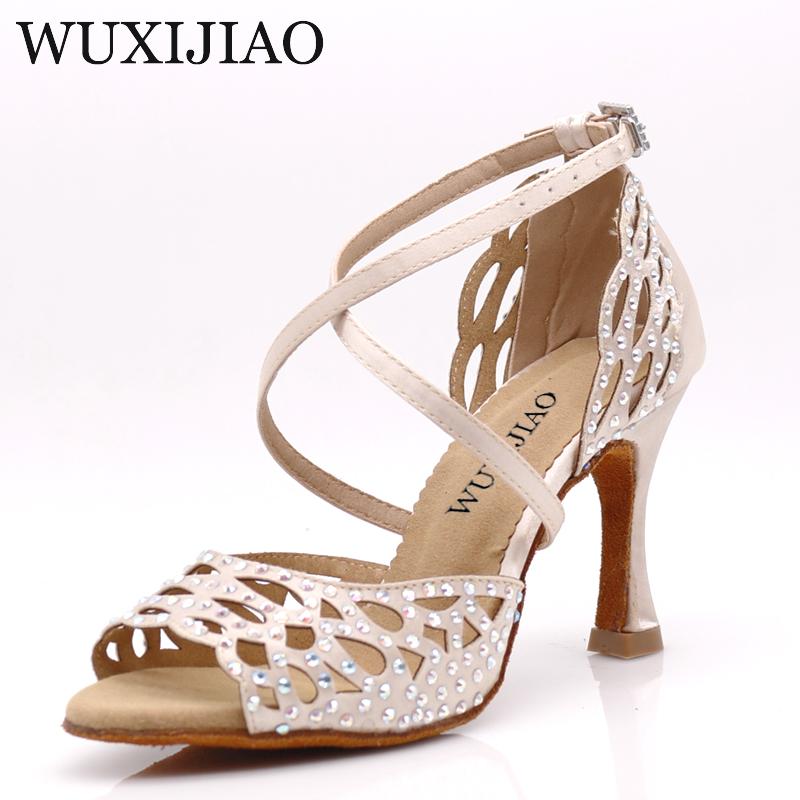 WUXIJIAO dance shoes girl Latin dance shoes trend printing PU salsa dance shoes HEEL5CM 10CM