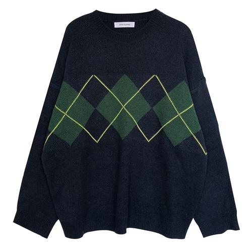 Geometric Pattern Fashion Basic Hit Casual Regular 2019 Female Women Long Sleeve All Match College Wind Hit Hot Sale Sweaters