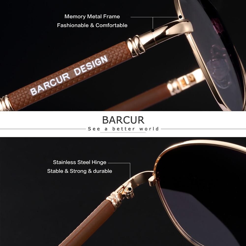 BARCUR High Quality TR90 Sunglasses Polarized Men's Sun glasses Women Pilot UV400 Mirror Oculos de sol 2
