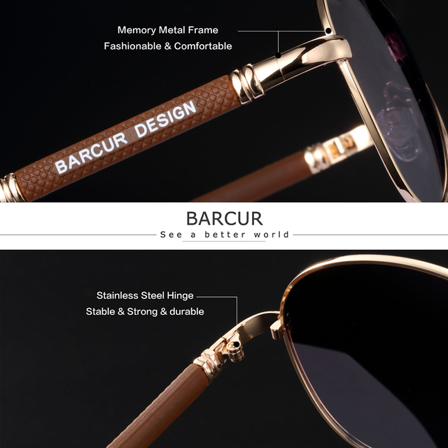 BARCUR Design Titanium Alloy Sunglasses Polarized Men's Sun Glasses Women Pilot Gradient Eyewear Mirror Shades Oculos De Sol 2