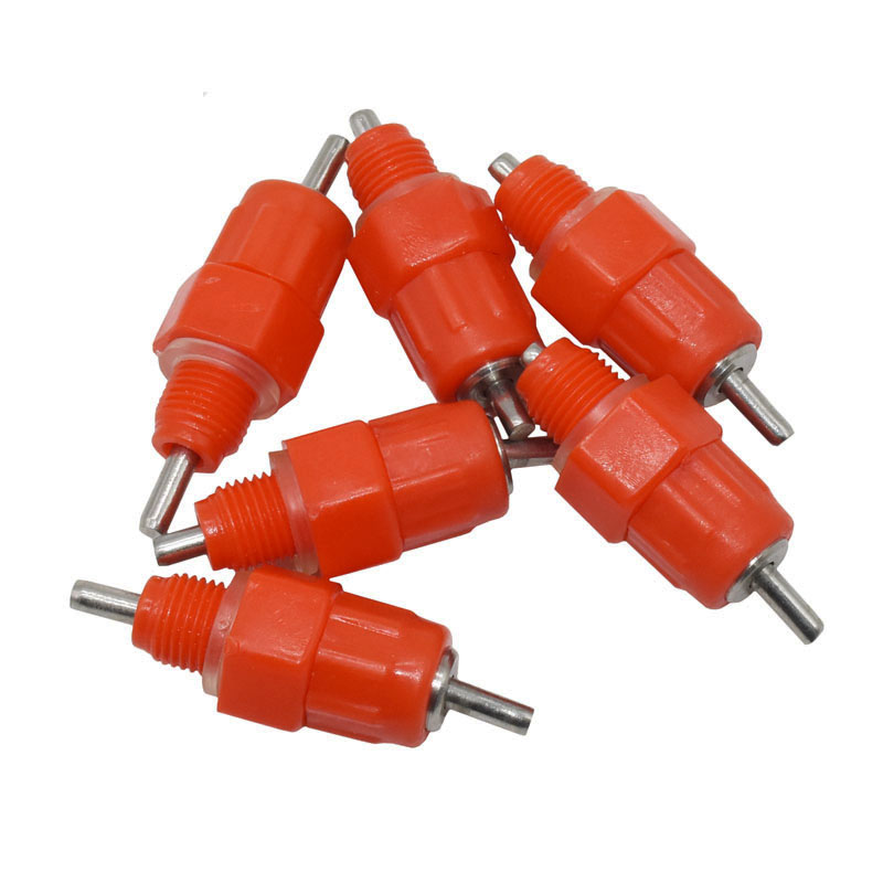 5 Pcs 360 Degrees Nipples Red Chicken Waterer Poultry Feed Chicken Drinking Bird Pigeon Feeding Ball Red Nipple Drinkers For
