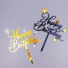 New Happy Birthday Acrylic Cake Topper Gold Black Stars Cake Topper For Girls Kids Birthday Party Cake Decorations Baby Shower(China)