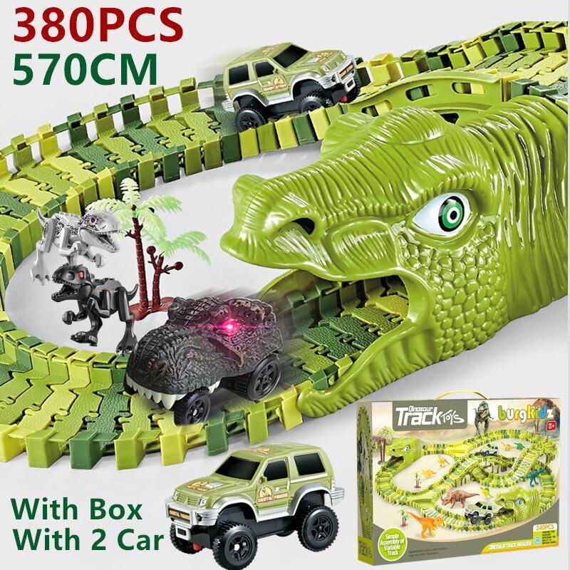 Coches de juguete con vías de dinosaurios para niños, juguete de vías de tren de carreras, de 2 a 4 años
