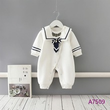 Crawling Clothing Warm Romper Thick Baby-Girl Winter Children's Navy College-Style One-Piece