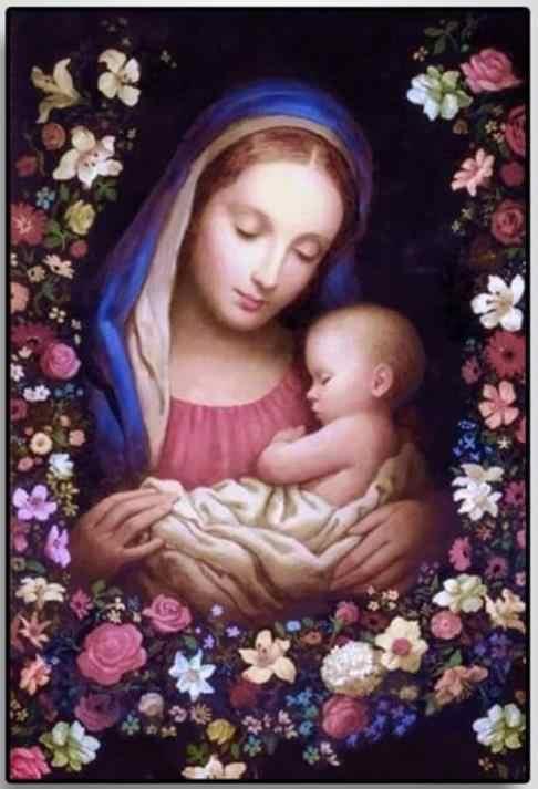 Tôn Giáo Tranh Gắn Đá Đức Mẹ Bé Mẹ Khảm Nghệ Thuật Chúa Giêsu Thêu Ren Hình Xếp Hình Quà Tặng Trang Trí Treo Tường Hàng Thủ Công