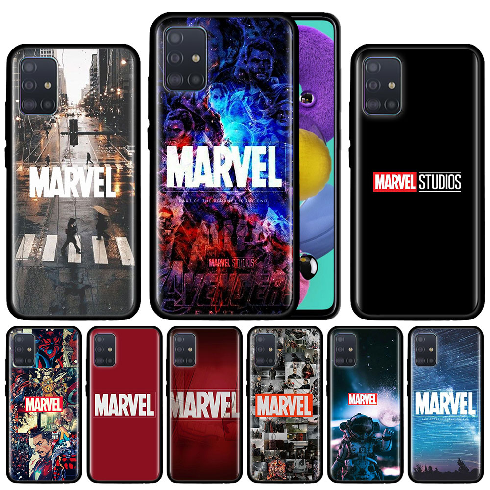 <font><b>Marvel</b></font> Comics <font><b>logo</b></font> <font><b>Case</b></font> For <font><b>Samsung</b></font> <font><b>Galaxy</b></font> A51 A71 A01 A81 A91 A50 A70 A70s M31 Black Silicone Phone Cover Fundas image