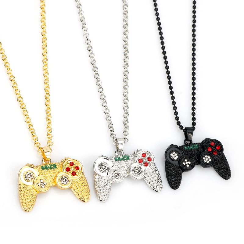 Hip Hop Iced Out Game Controller Handle Pendant Necklace For Women Men Crystal Rhinestone Game Machine Gamepad Keychain Keyring