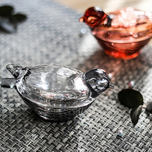 Crystal Glass Jewelry Storage Box Bird Shape Ring Trinket Tanks Container Home Clear Jar Decoration Ornaments Gift