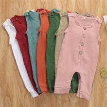 Newborn Baby Boys Girls Romper Summer Cotton Linen Sleeveless One-pieces Button Rompers Jumpsuits Toddler Infant Cotton Clothes