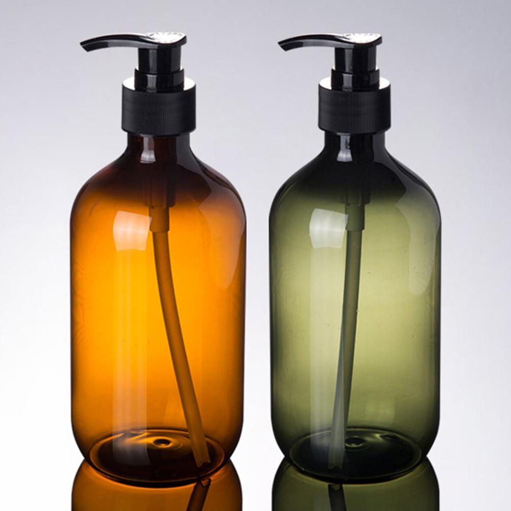 Large Capacity  300/500ml Amber Shampoo Empty Lotion Container Foam Pressed Pump Bottle For Soap Shower Gel Travel Bottle 11.11