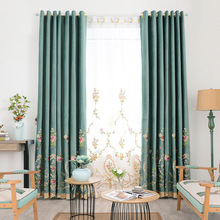 European-style Pastoral Flower Embroidery Shade Curtains for Living Dining Room Bedroom.