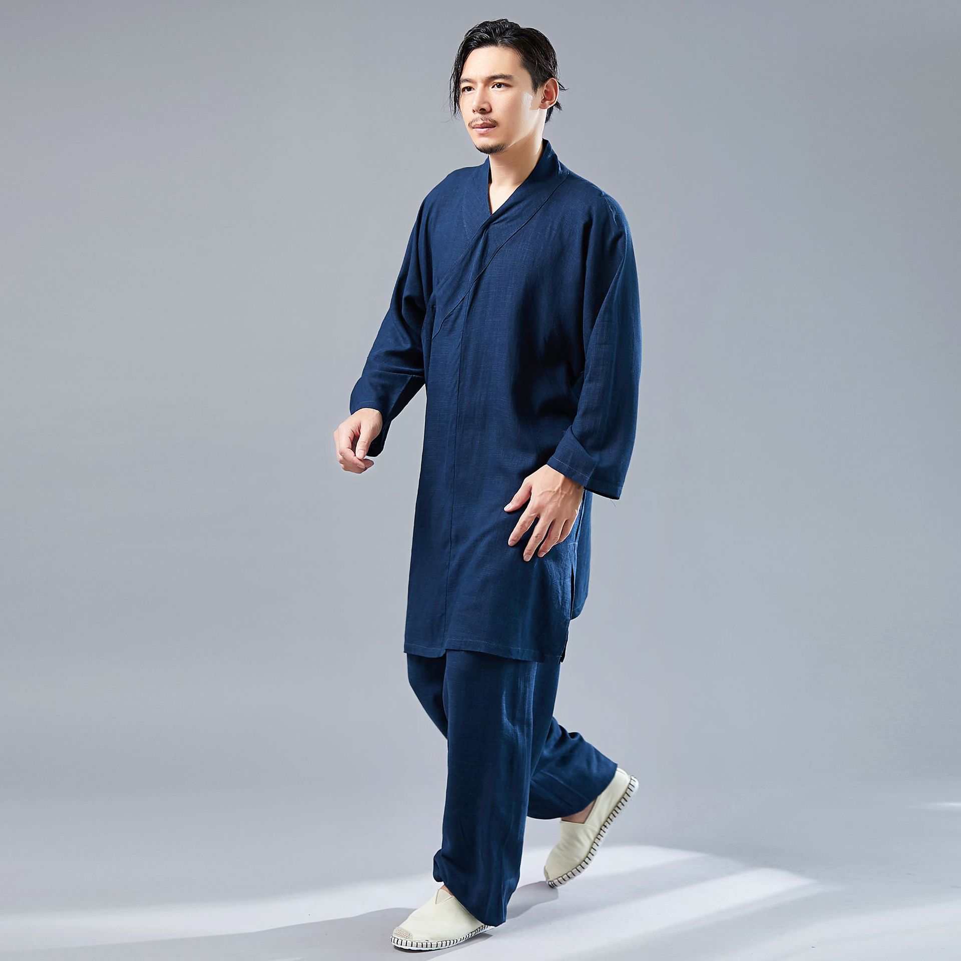 2019 Autumn New Products Flax Solid Color GI Taekwondo Long Sleeve Training Suit Loose-Fit Leisure Suit Men's Tai Chi Clothing