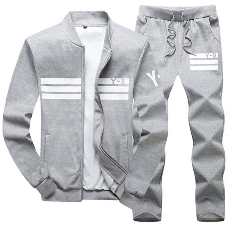 Plus Size 6XL 7XL M-9XL Men's Sportswear Sets 2019 Spring Fall Sporting TrackSuit Men 2 Piece Jacket + Pants Set Male Fitness